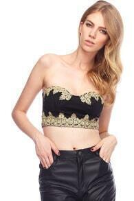 Splicing Embroidery Black Bandeau