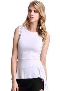 Asymmetric Hem Riveted White Vest