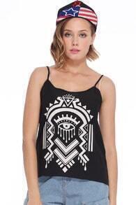 Straps Abstract Pattern Print Black Vest