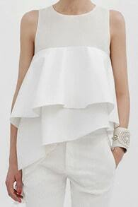 ROMWE Panel Asymmetric Layered White Sleeveless Vest