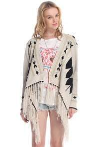 Tassel Embellished Geometric Pattern Cream Cardigan