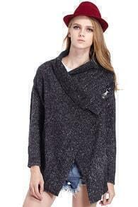 ROMWE Top Rated Asymmetric Drapped Dark-grey Cardigan