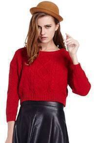 Cable Knit Red Short Jumper