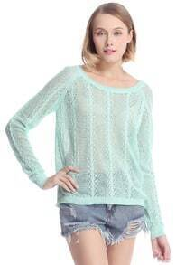 ROMWE Batwing Sleeved Hollow-out Green Jumper