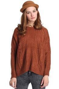 Twisted Knitted Coffee Jumper