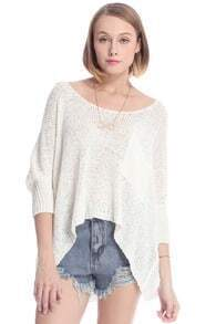 ROMWE Asymmetric Hollow-out Batwing Sleeved White Jumper