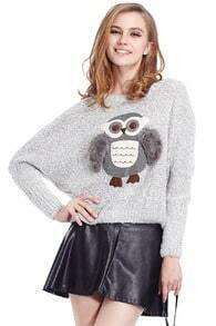 Owl With Furry Wings Grey Jumper
