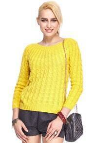 ROMWE Twisted Long Sleeves Yellow Jumper