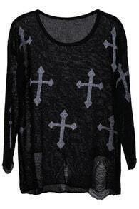 Cross Print Distressed Jumper