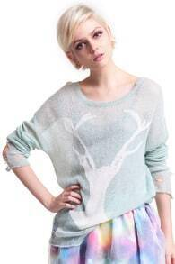 Deer Distressed Mint Jumper
