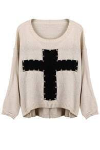 Knitted Cross Print Rivet White Jumper