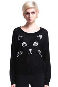 ROMWE Cat Face Knitted Black Jumper