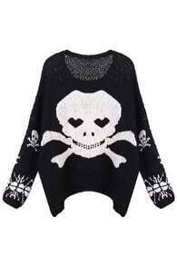 Knitted Skull Print Oversized Black Jumper