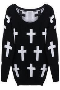 Knitted Cross Print Black Jumper