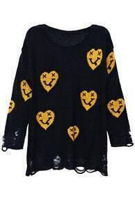 Yellow Heart-face Print Black Distressed Jumper