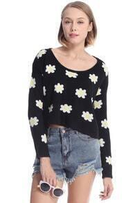 Daisy Print Black Knitted Jumper