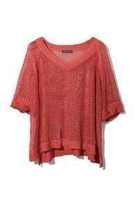 V-neck Hollow Design Red Sweater