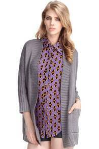 Batwing Sleeves Caped Grey Cardigan