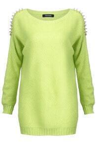Rivet Shoulder Green Jumper