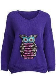 Beaded Owl Blue Jumper