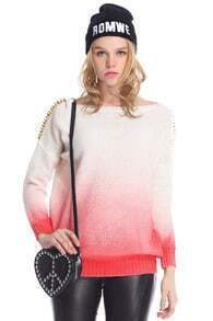 ROMWE Red Gradient Print White Jumper