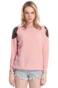 ROMWE Rivets Embellished Pink Jumper