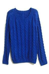 Plait Crochet Blue Jumper