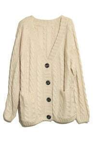 Vertical Plait Crochet Cream Cardigan