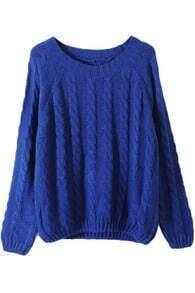 Vertical Plait Crochet Royalblue Jumper