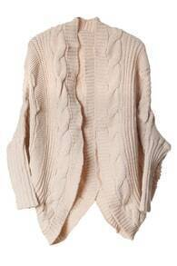 Oversized Cable Knit Cream Cardigan