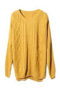 Asymmetric Geometric Serratula Texture Yellow Jumper
