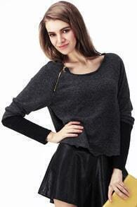 Zippered Dark Grey Jumper
