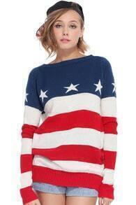 Red-white Striped Stars Print Blue Jumper