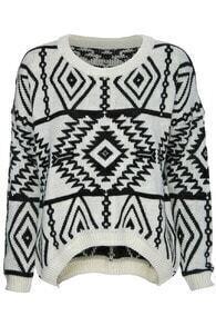 Asymmetric Tribal Style Cream Jumper