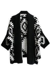 Tribal Style Cropped Black Cardigan