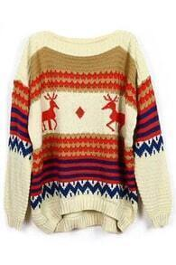 ROMWE Chirstmas Sweater Asymmetric Color Block Striped Deer Pattern Cream Jumper