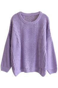 Batwing Sleeves Cable Knit Cut-out Purple Jumper