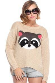 Racoon Embroidered Beige Jumper