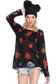 Halloween Pumpkins Print Black Jumper