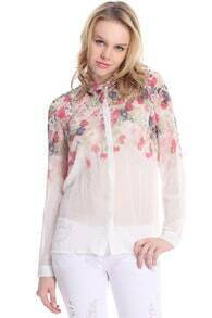 Floral Print Gradient White Shirt