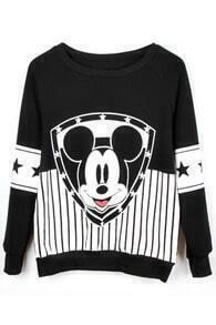 Black Long Sleeve Vertical Stripe Mickey Mouse Sweatshirt