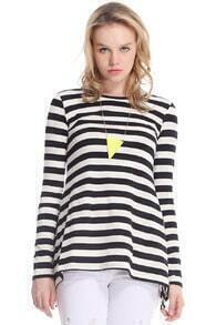 Striped Asymmetric Loose T-shirt