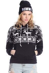 Black Long Sleeve Deers Print Pocket Front Hoodie