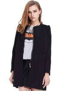 Zippered Slim Sheer Black Coat