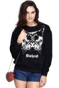 Romwe Letters & Cross Cat Face Print Sweatshirt