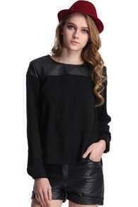 ROMWE Faux Leather Panel Black Sweatshirt