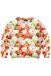 Ice-cream Print Sweatshirt