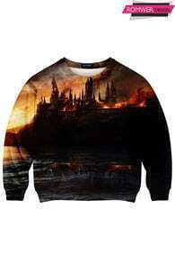 This Is Print Castle in Sea Print Sweatshirt