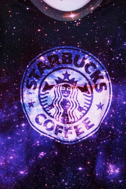 This Is Print Starbuck Coffee In Galaxy Print