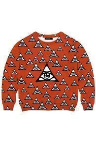 This Is Print Triangle Eyes Print Red Sweatshirt
